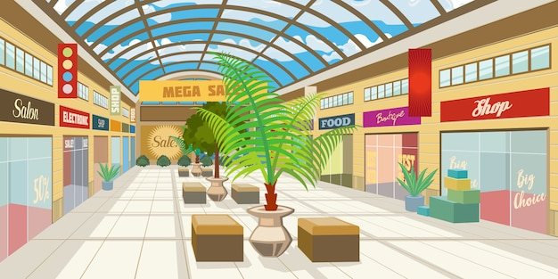 Shopping mall corridor with panoramic roof Free Vector