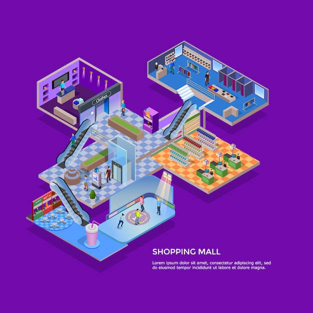Shopping mall isometric concept Free Vector