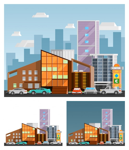 Shopping mall orthogonal compositions Free Vector