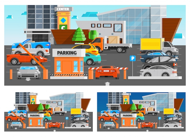 Shopping mall parking compositions set Free Vector