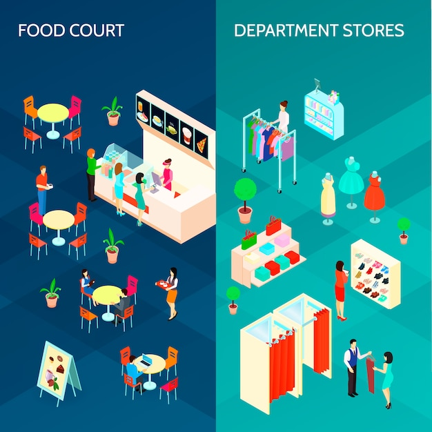 Shopping mall two vertical banners Free Vector