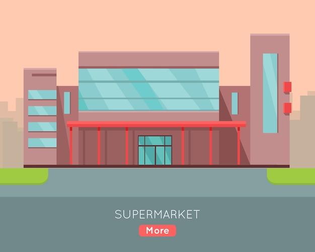Shopping mall web template in flat design. Premium Vector