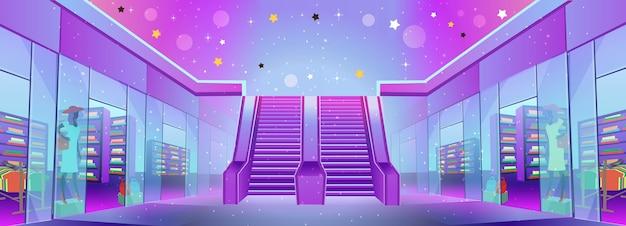 Trung tâm mua sắm với các cửa hàng và một thang cuốn. khái niệm về giảm giá lớn hoặc tiếp thị di động và thương mại điện tử