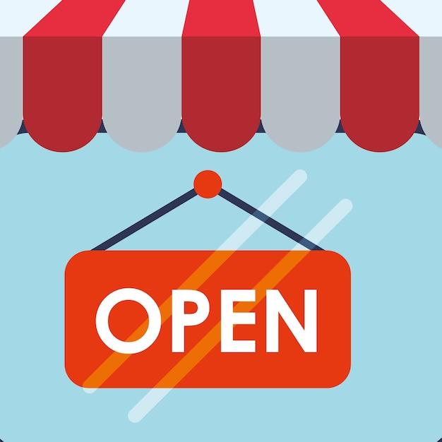 Shopping market shop store icon set Premium Vector