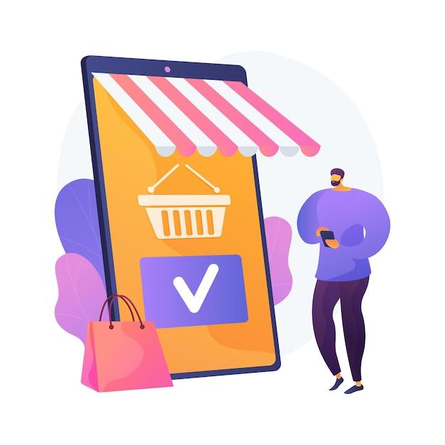 ショッピングモバイルアプリ、オンラインストアサービス。スマートフォンアプリ、インターネット購入、注文。顧客の漫画のキャラクター。カートに商品を追加しています。ベクトル分離された概念の比喩の図。 無料ベクター