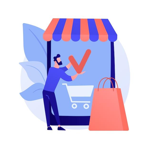 ショッピングモバイルアプリ、オンラインストアサービス。スマートフォンアプリ、インターネット購入、注文。顧客の漫画のキャラクター。カートに商品を追加しています。 無料ベクター