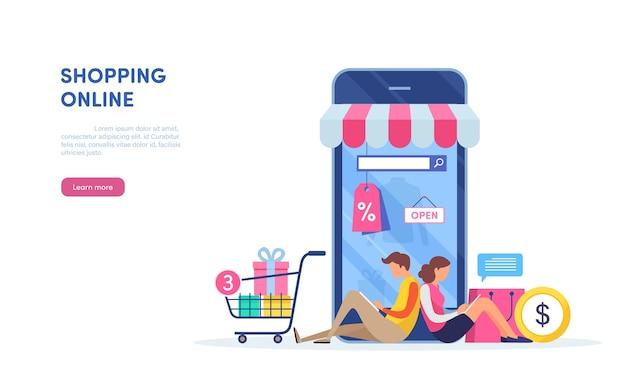Shopping on mobile. Premium Vector