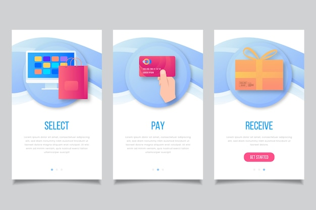 Shopping  onboarding app screens Free Vector