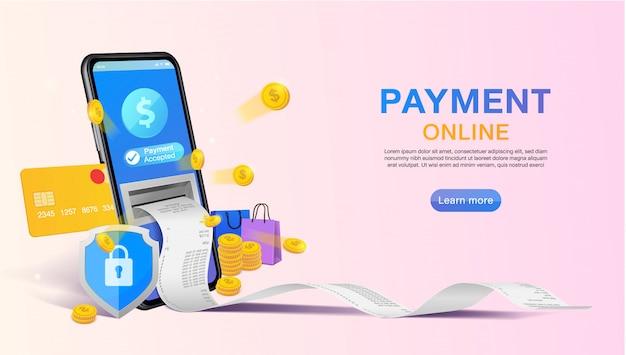 Покупки онлайн и онлайн-платежей на веб-сайте или мобильных приложений баннер концепции маркетинга и цифрового маркетинга. Premium векторы