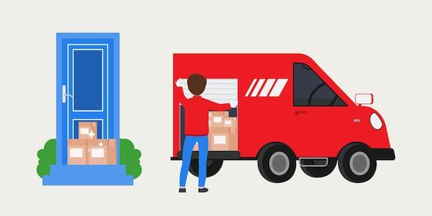 Интернет-магазины и служба доставки. Бесплатные векторы
