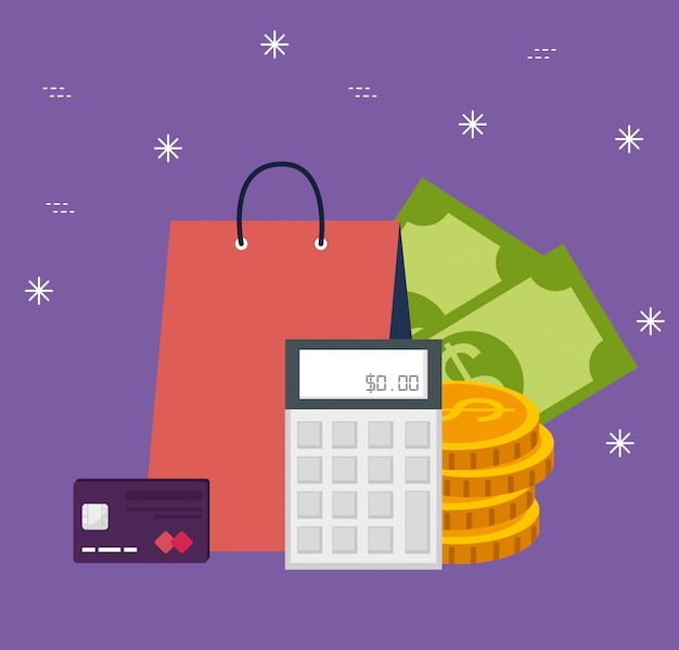 Shopping online bag with bills and coins Free Vector