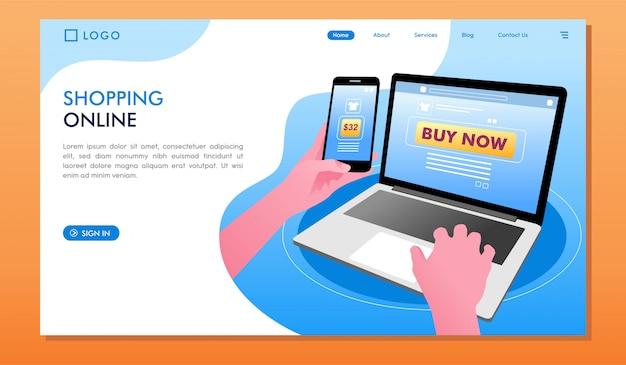 オンラインで購入するランディングページのウェブサイトでのショッピング Premiumベクター