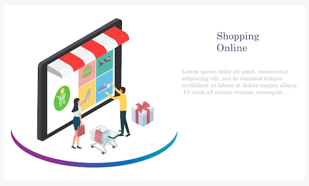 Shopping online by cash and credit card for customer Premium Vector