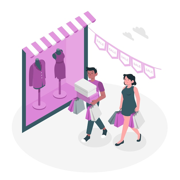 Shopping not online concept illustration Free Vector