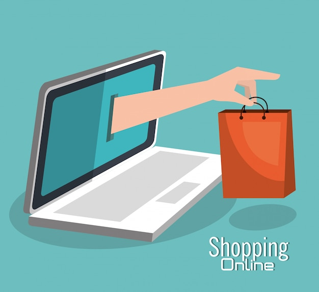 Shopping online and digital marketing Premium Vector