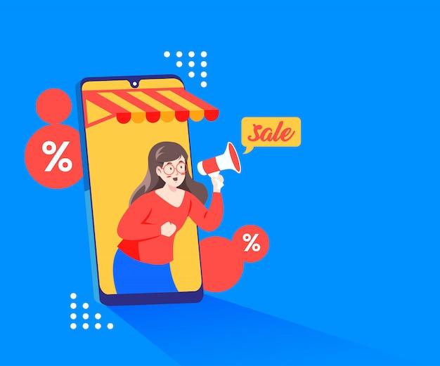 スマートフォンとメガホンを使ったオンライン割引プロモーション Premiumベクター