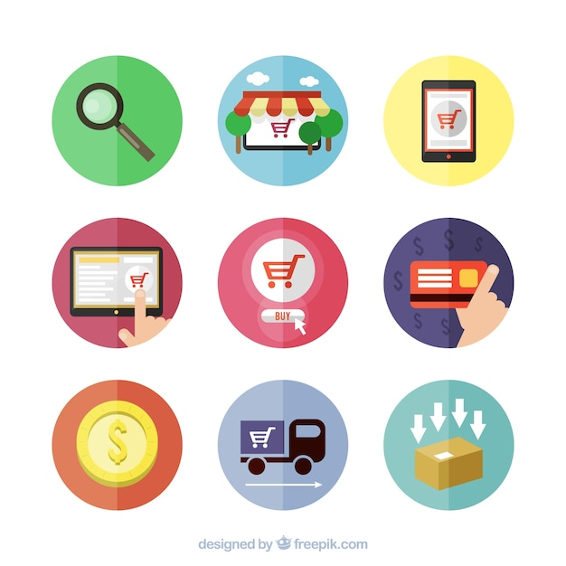 Shopping online icons Vector | Free Download