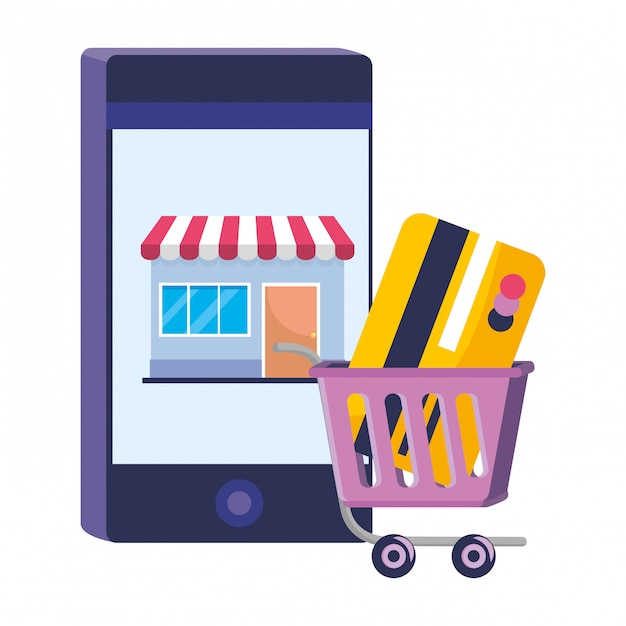 Shopping online illustration Premium Vector