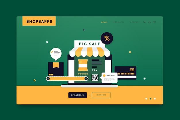 ショッピングオンラインランディングページのデザイン 無料ベクター