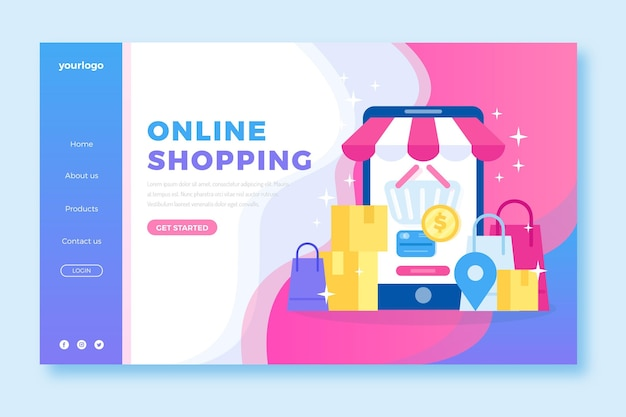 Shopping online landing page in flat design Free Vector