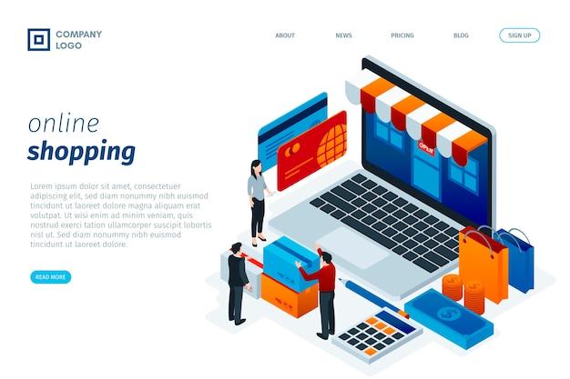 Shopping online design isometrico landing page Vettore gratuito