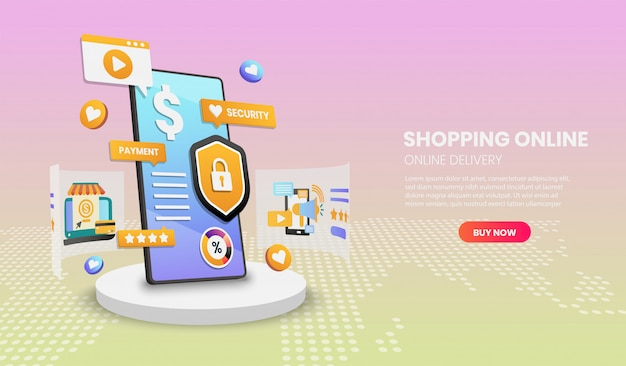Shopping online on mobile phone. online delivery service.3d vector illustration,hero image for webs