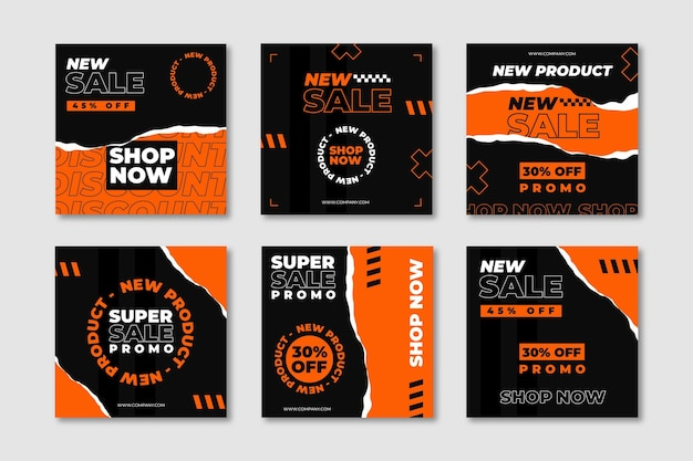 Shopping online posts collection Premium Vector