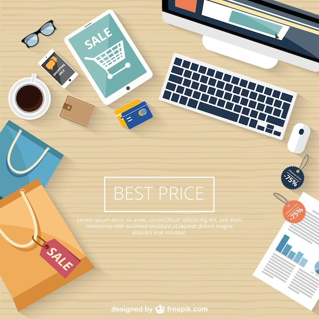 Shopping online sale background vector free download for Design online shop