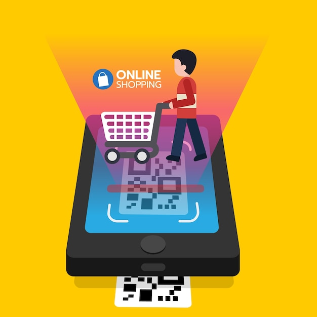 Shopping online scanning qr code on smartphone screen with consumer