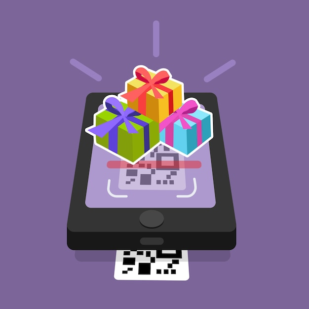 Shopping online scanning qr code on smartphone screen with gift box