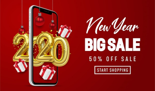 Shopping online, special offer new year big sale, red background on mobile Premium Vector