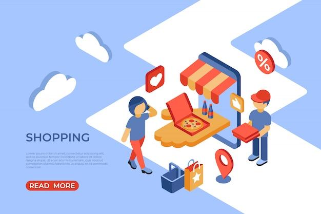 Торговый интернет-магазин изометрической целевой страницы со счастливыми покупателями Premium векторы