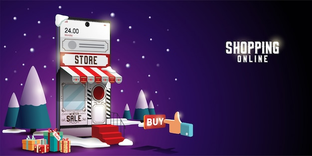 Shopping online on website or mobile application vector concept marketing and digital marketing. merry christmas Premium Vector