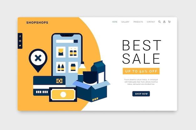 オンラインショッピングのウェブテンプレート 無料ベクター