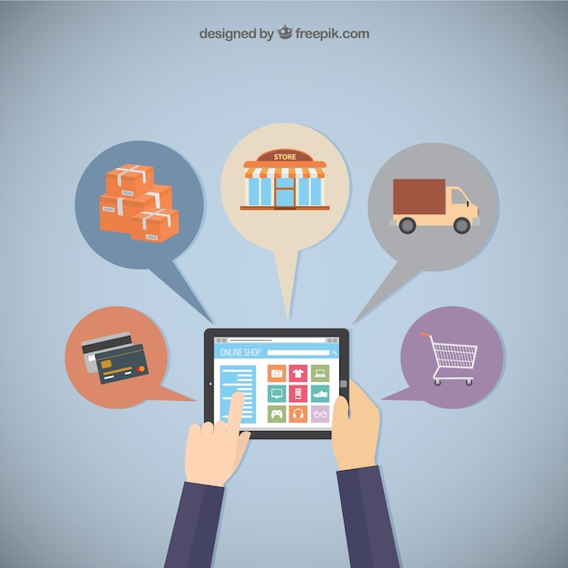 Shopping online with a tablet vector free download Online vector editor