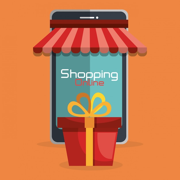 Shopping online with phone Free Vector