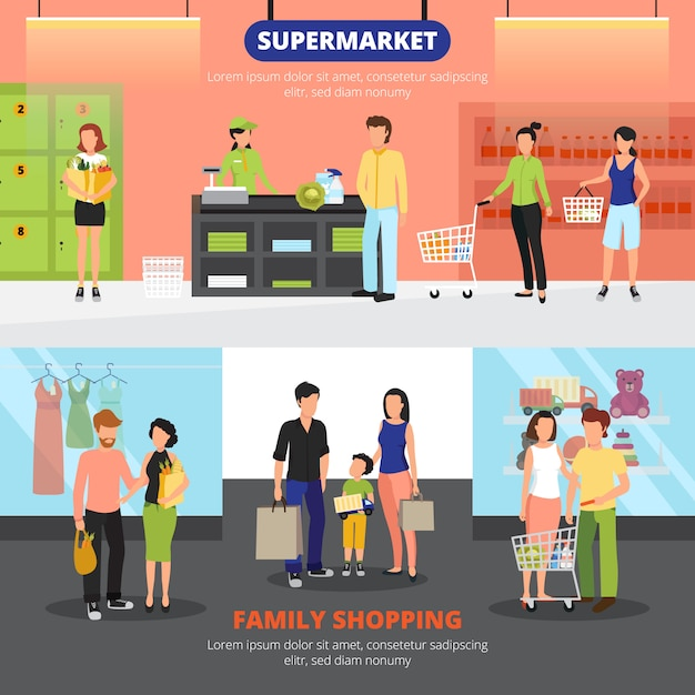 Shopping people horizontal banners set with family shopping symbols flat Free Vector