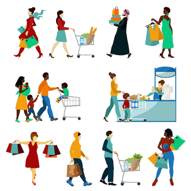 Shopping people icons set Free Vector
