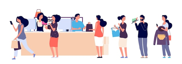 Shopping people queue. fashion store cash desk vector illustration. flat cashiers and buyers with clothes accessorises. queue people in shop, store market Premium Vector