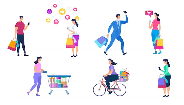 Shopping people set isolated on white background. Premium Vector