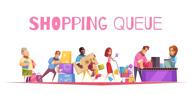 Shopping queue  composition with text and supermarket checkout images human characters of customers with goods Free Vector
