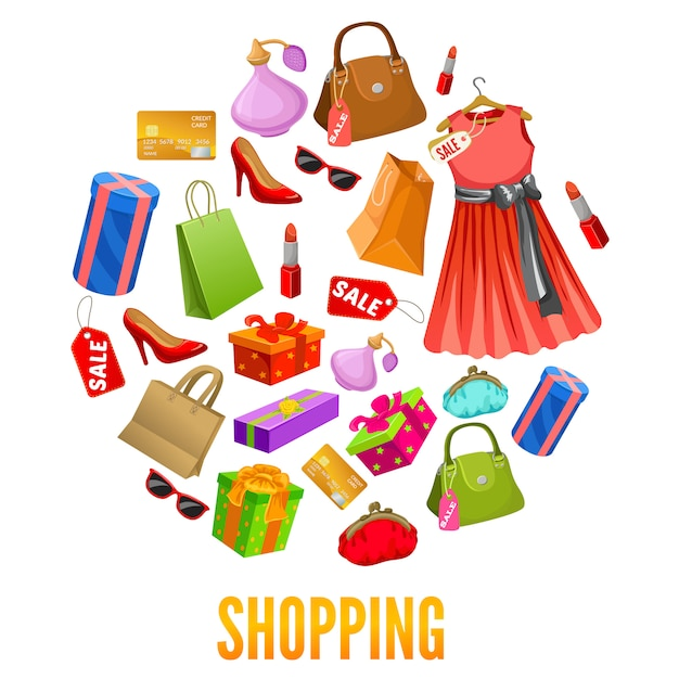 Shopping round compositions Free Vector