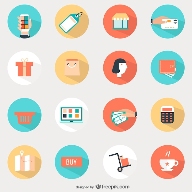 Shopping round icons set Free Vector