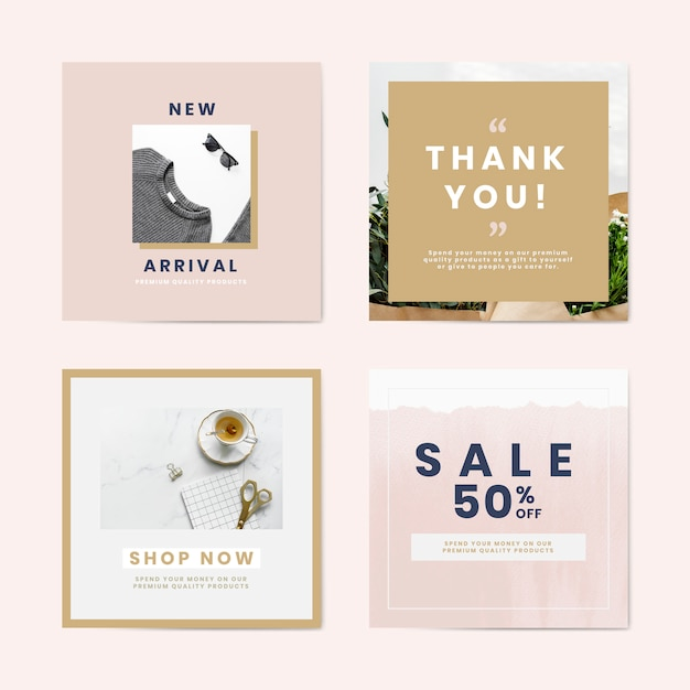 Shopping and sale advertisement templates vector set Free Vector
