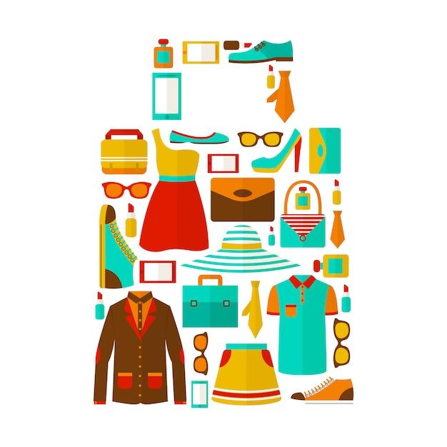 Shopping sale carry bag emblem Free Vector