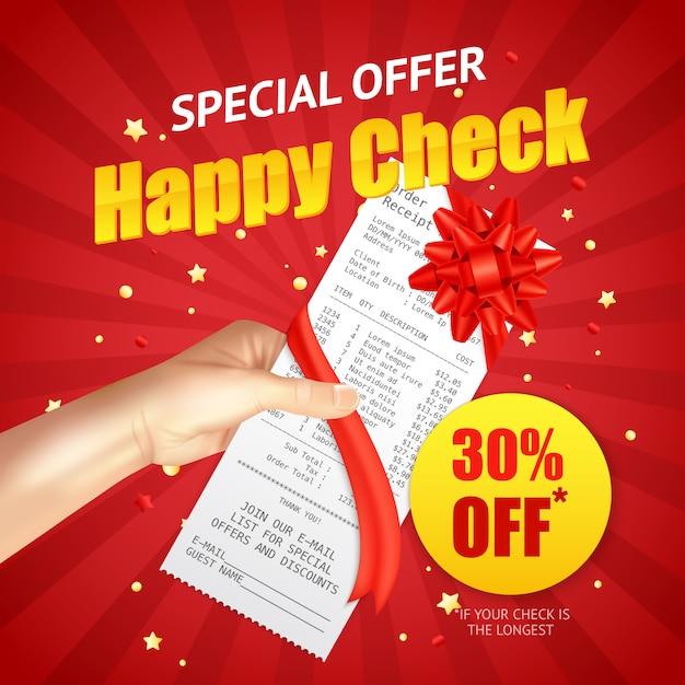 Shopping sale discount  receipt realistic banner Free Vector