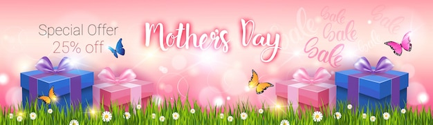 Shopping sale happy mother day discount, spring holiday greeting card banner Premium Vector