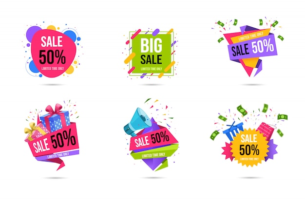 Shopping sales web banners templates set Premium Vector