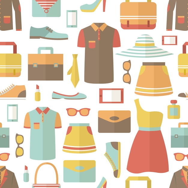 Shopping seamless pattern Free Vector