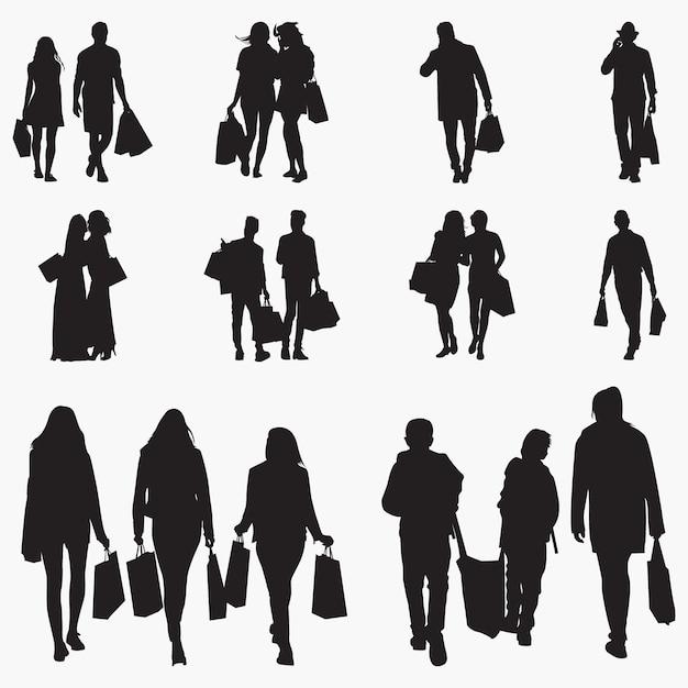 Shopping silhouettes Premium Vector